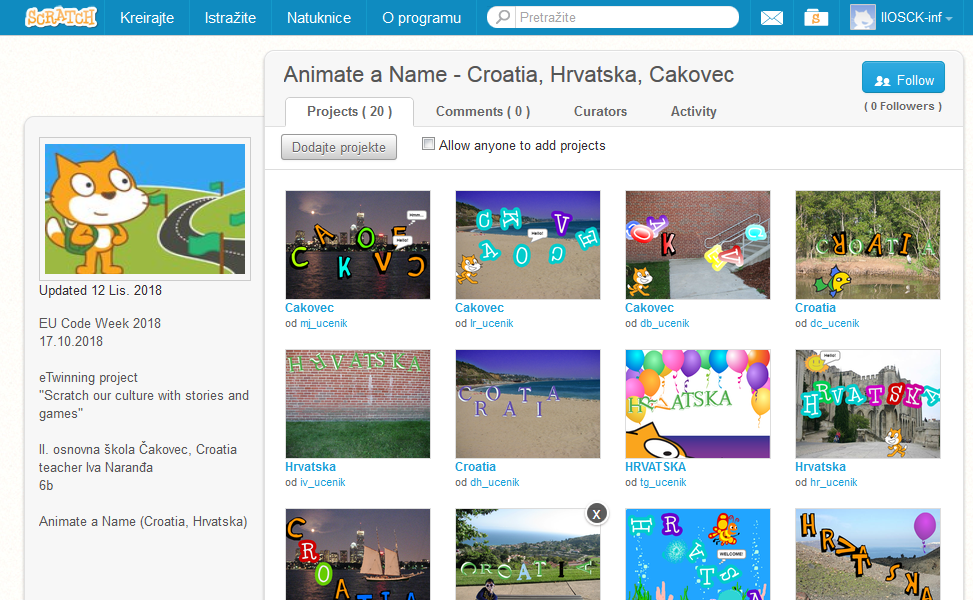 Scratch - Animate a Name - eTwinning project