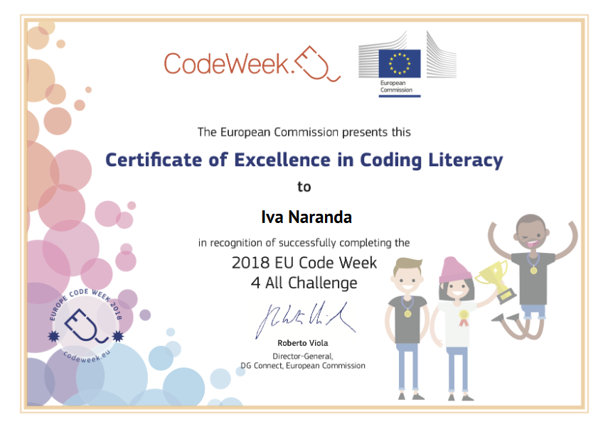 Certifikat izvrsnosti - Certificate of Excellence in Coding Literacy, 2018 EU Code Week 4 All Challenge
